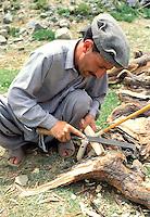 Pakistan - Le Polo des Rois - Tournoi de Polo le plus haut du monde au col de Shandur à 3800 m d'altitude entre les anciens royaumes de Chitral et de Gilgit - Palfrenier preparant une crosse pour un concurant // Pakistan, Khyber Pakhtunkhwa, polo tournament at Shandur Pass at an altitude of 3800 m between Chitral and Gilgit team