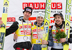KOCH Martin (AUT), overall Second placed, KRANJEC Robert (SLO), overall Skiflying Champion and AMMANN Simon( SUI), overall Third placed at  Skiflying classification celebrate at trophy ceremony after the Flying Hill Individual competition at 4th day of FIS Ski Jumping World Cup Finals Planica 2012, on March 18, 2012, Planica, Slovenia. (Photo by Vid Ponikvar / Sportida.com)