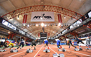 Feb 9, 2019; New York, NY, USA; General overall view of the sprinters in the starting blocks of the junior boys 60m during the 112th Millrose Games at The Armory. From left: Austin Allen, Brandon Smith, Caleb Mauney, Bryan Santos, Nick Gross, Ibrahim Bangura,  Andre Turay and Jaheim Jones.