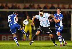 Joe Rafferty of Rochdale goes in for a tackle - Mandatory byline: Matt McNulty/JMP - 07966386802 - 29/09/2015 - FOOTBALL - Spotland Stadium -Rochdale,England - Rochdale v Shrewsbury - SkyBet League One