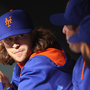 Pichers Jacob deGrom, (left) and Matt Harvey, New York Mets, in the dugout during the New York Mets Vs Philadelphia Phillies MLB regular season baseball game at Citi Field, Queens, New York. USA. 15th April 2015. Photo Tim Clayton