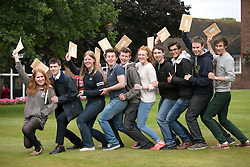 © Licensed to London News Pictures. 14/08/2014. Solihull, West Midlands, UK. A level results announced at Solihull School earlier today. Ten to go, all off to Oxbridge, from left, Alanna Wall, Jamie Turpin, Lucy Allen, Tom Griesbach, Nick Hooper, Maddie Lavery, Sam McCumsikey, George Diwaker, Alex Browse, Ben Piggen, all 18. Photo credit : Dave Warren/LNP