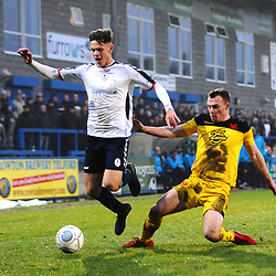 TELFORD COPYRIGHT MIKE SHERIDAN 19/1/2019 - Ryan Barnett of AFC Telford (on loan from Shrewsbury Town Football Club) is tackled by Sam Austin of Kidderminster (formerly of AFC Telford) during the Vanarama Conference North fixture between AFC Telford United and Kidderminster Harriers