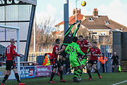 Morecambe goalkeeper Danijel Nizic(12) punches clear a cross during the EFL Sky Bet League 2 match between Morecambe and Forest Green Rovers at the Globe Arena, Morecambe, England on 17 February 2018. Picture by Shane Healey.