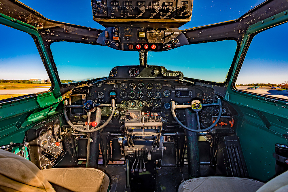 """Cockpit of the B-17G """"Ye Old Pub,"""" photographed at Atlanta's Dekalb Peachtree Airport.  <br /> <br /> Created by aviation photographer John Slemp of Aerographs Aviation Photography. Clients include Goodyear Aviation Tires, Phillips 66 Aviation Fuels, Smithsonian Air & Space magazine, and The Lindbergh Foundation.  Specialising in high end commercial aviation photography and the supply of aviation stock photography for advertising, corporate, and editorial use."""