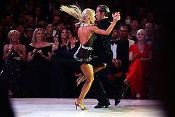 © Licensed to London News Pictures. World Champions Riccardo Cocchi and Yulia Zagoruychenko of the US compete in the Latin section at the British Ballroom dance championships at the Winter Gardens in Blackpool 28-05-2015. The first Blackpool Dance Festival was held  in 1920 now has 60 countries represented with total number of 2,950 couples competing. Photo credit: Nigel Roddis/LNP