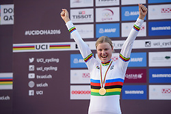 New World Champion, Amalie Dideriksen (DEN) at the 134 km Elite Women's Road Race, UCI Road World Championships 2016 on 15th October 2016 in Doha, Qatar. (Photo by Sean Robinson/Velofocus).