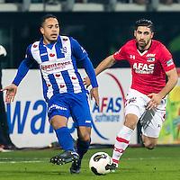 ALKMAAR - 25-01-2017, AZ - sc Heerenveen, AFAS Stadion, SC Heerenveen speler Lucas Bijker, AZ speler Alireza Jahanbakhsh