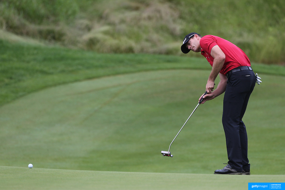 Brendan Steele, USA, in action during the first round of the Travelers Championship at the TPC River Highlands, Cromwell, Connecticut, USA. 19th June 2014. Photo Tim Clayton