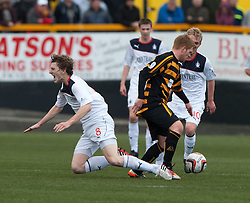 Falkirk's Blair Alston tackled by Alloa Athletic's Ryan McCord.<br /> Alloa Athletic 0 v 0 Falkirk, Scottish Championship 12/10/2013. played at Recreation Park, Alloa.<br /> &copy;Michael Schofield.