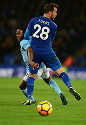 Christian Fuchs of Leicester City fouls Raheem Sterling of Manchester City - Mandatory by-line: Alex James/JMP - 18/11/2017 - FOOTBALL - King Power Stadium - Leicester, England - Leicester City v Manchester City - Premier League