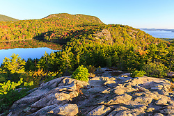 "The view of Champlain Mountain and ""the Bowl"" from ledges on ""The Beehive"" in Maine's Acadia National Park."