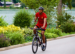 ROTTACH-EGERN, GERMANY - Thursday, July 27, 2017: Liverpool's Joel Matip cycles back from training from the Seehotel Uberfahrt on the banks of Lake Tegernsee on day two of their preseason training camp in Germany. (Pic by David Rawcliffe/Propaganda)