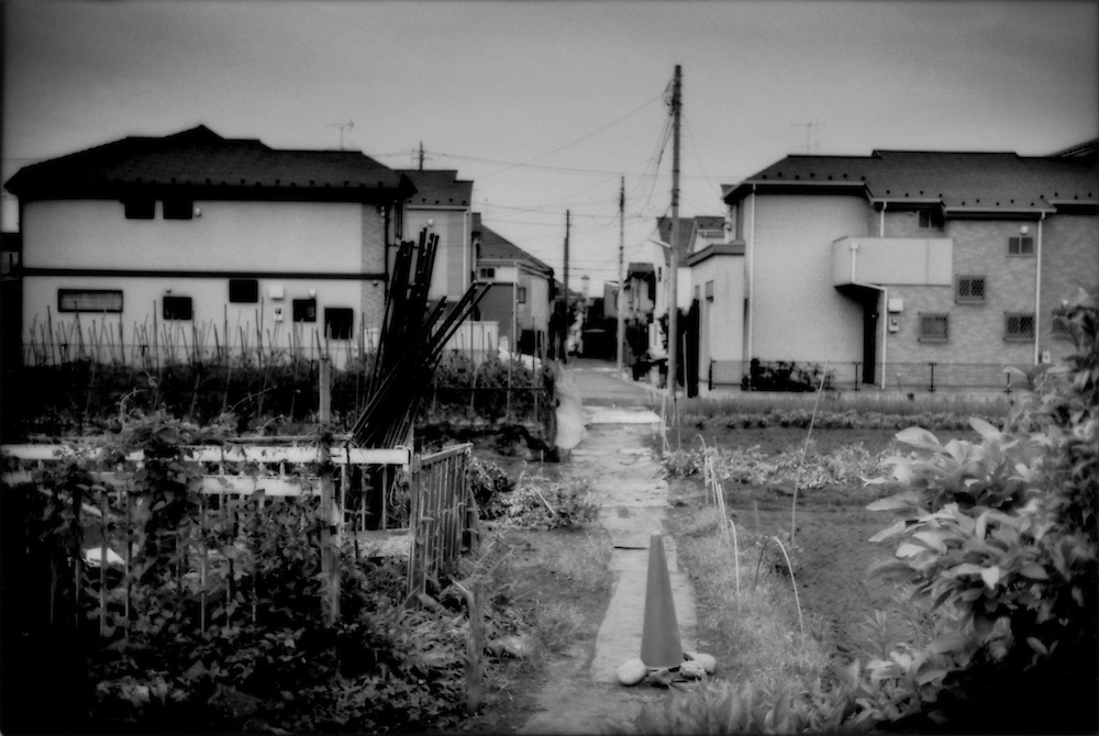 Suburban houses occupy what was one of the last smalls farms in Tokyo's Setagaya Ku (Ward) four years before, as parcels are subdivided and sold off for residential development, Seijo, Tokyo, Japan.   Most of Japan's farms have always operated on a small scale creating a unique dynamic of agricultural land worked mostly by elderly couples hanging on anachronistically for years while communities transform completely become a suburban bedroom community.  So, large tracts of farmland are rarely sold, and one by one elderly farmers die off then the land is sold.