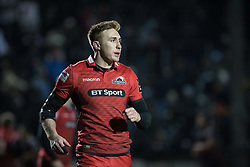 Dougie Fife runs out for his 100th appearance for Edinburgh.<br /> <br /> Photographer Simon Latham/Replay Images<br /> <br /> Guinness PRO14 - Dragons v Edinburgh - Friday 23rd February 2018 - Eugene Cross Park - Ebbw Vale<br /> <br /> World Copyright © Replay Images . All rights reserved. info@replayimages.co.uk - http://replayimages.co.uk