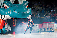KELOWNA, CANADA - SEPTEMBER 24: Konrad Belcourt #5 of the Kelowna Rockets enters the ice against the Kamloops Blazers on September 24, 2016 at Prospera Place in Kelowna, British Columbia, Canada.  (Photo by Marissa Baecker/Shoot the Breeze)  *** Local Caption *** Konrad Belcourt;