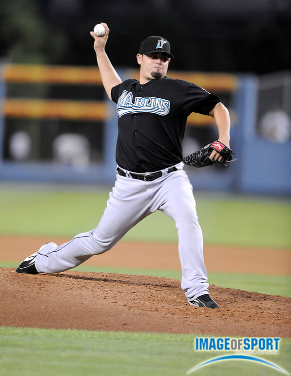 Jul 12, 2008; Los Angeles, CA, USA; Florida Marlins starter Ricky Nolasco (47) pitches during game against the Los Angeles Dodgers at Dodger Stadium.