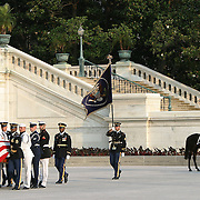 The casket of President Reagan is taken to the Rotunda of the US Capitol Wednesday, June 9, 2004.  The former president will lie-in-state there until Friday morning.  The riderless horse at right with the boots turned backwards signifies the loss of commander...Photo by Khue Bui