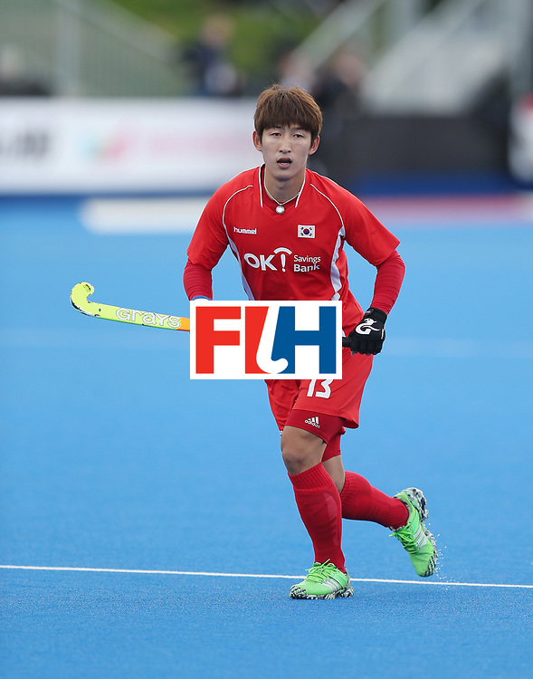 LONDON, ENGLAND - JUNE 16:  Juhun Kim of Korea during the FIH Mens Hero Hockey Champions Trophy match between Korea and Germany at Queen Elizabeth Olympic Park on June 16, 2016 in London, England.  (Photo by Alex Morton/Getty Images)
