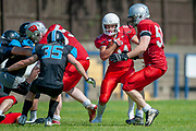 Calum Davidson (#21) during the BAFA Northern Division match between Edinburgh Wolves and Sheffield Giants at Meggetland Sports Complex, Edinburgh, Scotland on 1 July 2018. Picture by Malcolm Mackenzie.
