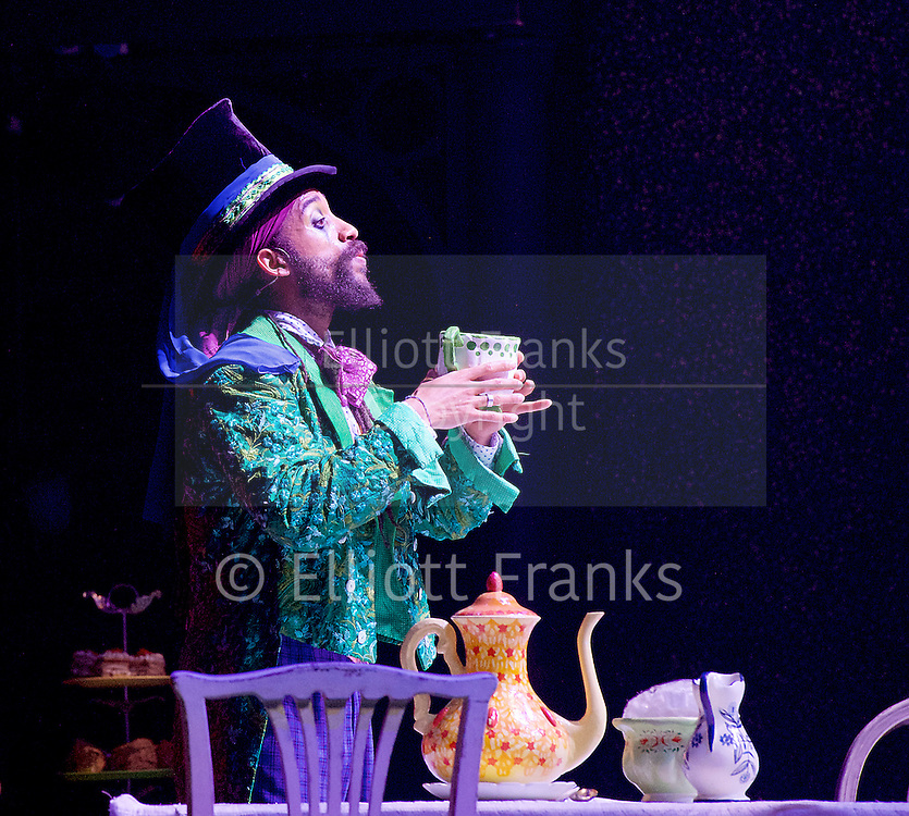 The Mad Hatter&rsquo;s Tea Party <br /> by Zoo Nation<br /> directed by Kate Prince<br /> presented by Zoo Nation, The Roundhouse &amp; The Royal Opera House<br /> at The Roundhouse, London, Great Britain <br /> rehearsal <br /> 29th December 2016 <br /> <br /> <br /> Issac Turbo Baptiste<br /> as the Mad Hatter <br /> <br /> <br /> <br /> Photograph by Elliott Franks <br /> Image licensed to Elliott Franks Photography Services