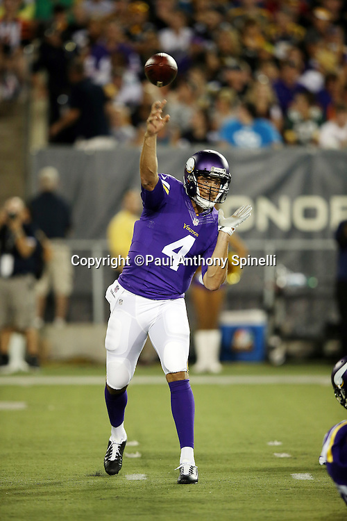 Minnesota Vikings quarterback Mike Kafka (4) throws a second quarter pass for a gain of 6 yards during the 2015 NFL Pro Football Hall of Fame preseason football game against the Pittsburgh Steelers on Sunday, Aug. 9, 2015 in Canton, Ohio. The Vikings won the game 14-3. (©Paul Anthony Spinelli)