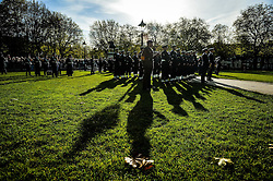 Members of the military on parade during a Remembrance Sunday service in Queen's Square, Bristol, held in tribute for members of the armed forces who have died in major conflicts.