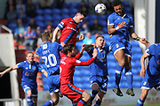 Ian Henderson heads goalwards during the EFL Sky Bet League 1 match between Oldham Athletic and Rochdale at Boundary Park, Oldham, England on 22 April 2017. Photo by Daniel Youngs.