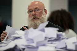 © Licensed to London News Pictures . 08/06/2017 . Manchester , UK . Ballots being counted at the count for the constituencies of Blackley and Broughton, Manchester Central, Manchester Gorton, Manchester Withington and Wythenshawe and Sale East, in the General Election, at the Manchester Central Convention Centre . Photo credit : Joel Goodman/LNP