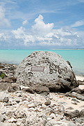 A memorial on Wake Island carved by one of 98 prisoners of war who were executed by the Jalanese on Wake Island in the Pacific Ocean after being forced to rebuild the airstrip.