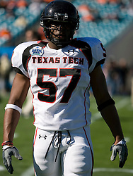 Texas Tech linebacker Brian Duncan (57) before the start of the Gator Bowl. The Texas Tech Red Raiders defeated the Virginia Cavaliers 31-28 in the 2008 Konica Menolta Gator Bowl held at the Jacksonville Municipal Stadium in Jacksonville, FL on January 1, 2008.