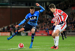 Dele Alli of Tottenham Hotspur and Philipp Wollscheid of Stoke City  - Mandatory by-line: Matt McNulty/JMP - 18/04/2016 - FOOTBALL - Britannia Stadium - Stoke, England - Stoke City v Tottenham Hotspur - Barclays Premier League