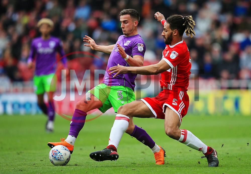 Ryan Shotton of Middlesbrough challenges Joe Bryan of Bristol City - Mandatory by-line: Matt McNulty/JMP - 14/04/2018 - FOOTBALL - Riverside Stadium - Middlesbrough, England - Middlesbrough v Bristol City - Sky Bet Championship