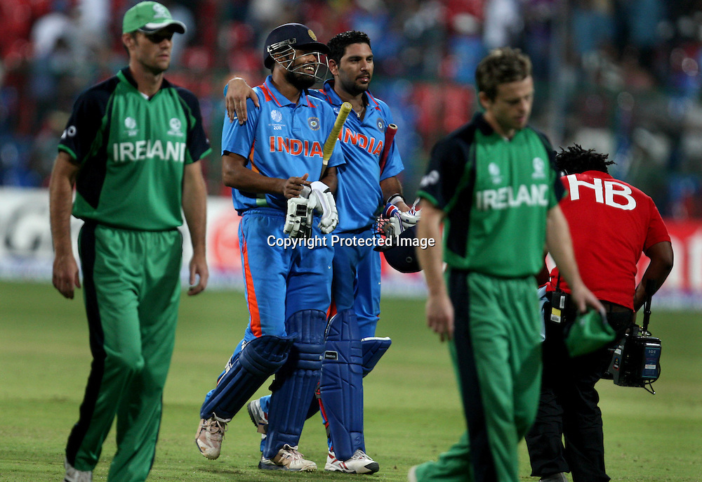 Indian playes Yusuf Pathan and Yuvraj Singh celebrates after won the match agianst Ireland during the ICC Cricket World Cup - 22nd Match, Group B, India vs Ireland Played at M Chinnaswamy Stadium, Bangalore, 6 March 2011 - day/night (50-over match)