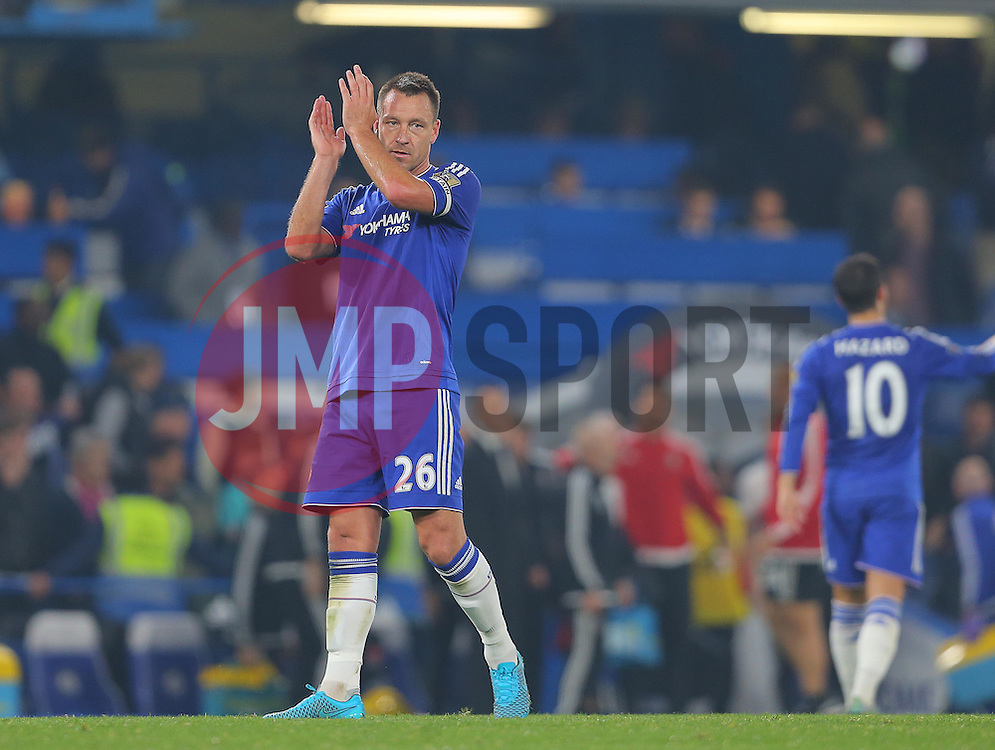 John Terry of Chelsea applauds the fans after the match - Mandatory byline: Paul Terry/JMP - 07966 386802 - 03/10/2015 - FOOTBALL - Stamford Bridge - London, England - Chelsea v Southampton - Barclays Premier League