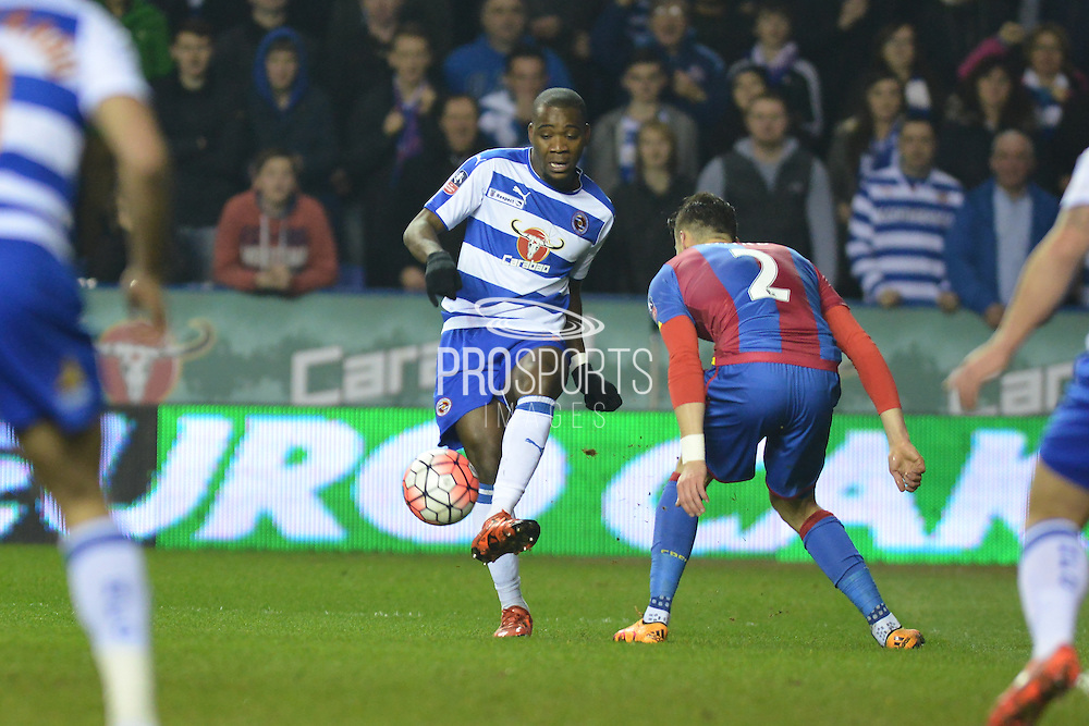 Reading FC striker Ola John makes the pass during the The FA Cup Quarter Final match between Reading and Crystal Palace at the Madejski Stadium, Reading, England on 11 March 2016. Photo by Mark Davies.