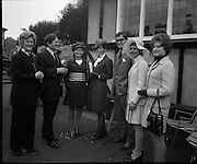 The Bollinger Bar at Phoenix Park..1972..07.10.1972..10.07.1972..7th October 1972..As part of the Phoenix Park races Bollinger opened a bar to facilitate the Champagne tastes of the racegoers...Pictured sampling the delights of the Bollinger Bar at Phoenix Park were (L-R) Mrs Nicholson, Mr T.Whelehan,Director,Irish Vitners Ltd, Mrs Foster, Mrs Whelehan, Mr C Foster,Director Irish Vitners Ltd, Mrs Searson and Mrs Murphy. .