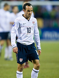 United States midfielder Landon Donovan (10).  The United States men's soccer team defeated the Mexican national team 2-0 in CONCACAF final group qualifying for the 2010 World Cup at Columbus Crew Stadium in Columbus, Ohio on February 11, 2009.