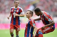 Fotball<br /> Tyskland<br /> 13.09.2014<br /> Foto: Witters/Digitalsport<br /> NORWAY ONLY<br /> <br /> 1:0 Jubel v.l. Philipp Lahm, Torschuetze Mario Götze, Jerome Boateng (Bayern)<br /> <br /> Fussball Bundesliga, FC Bayern München - VfB Stuttgart