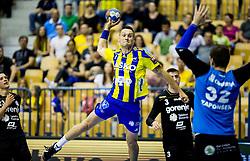 Luka Zvizej of Celje during handball match between RK Celje Pivovarna Lasko and RK Gorenje Velenje in Last Round of 1. Liga NLB 2016/17, on June 2, 2017 in Arena Zlatorog, Celje, Slovenia. Photo by Vid Ponikvar / Sportida