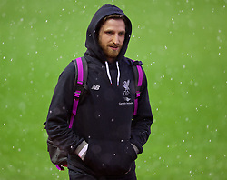LIVERPOOL, ENGLAND - Saturday, January 30, 2016: Liverpool's Joe Allen arrives in a hale storm before the FA Cup 4th Round match against West Ham United at Anfield. (Pic by David Rawcliffe/Propaganda)
