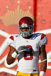 Oct 13, 2011; San Francisco CA, USA;  Southern California Trojans defensive end Nick Perry (8) warms up before the game against the California Golden Bears at AT&T Park.  Southern California defeated California 30-9. Mandatory Credit: Jason O. Watson-US PRESSWIRE