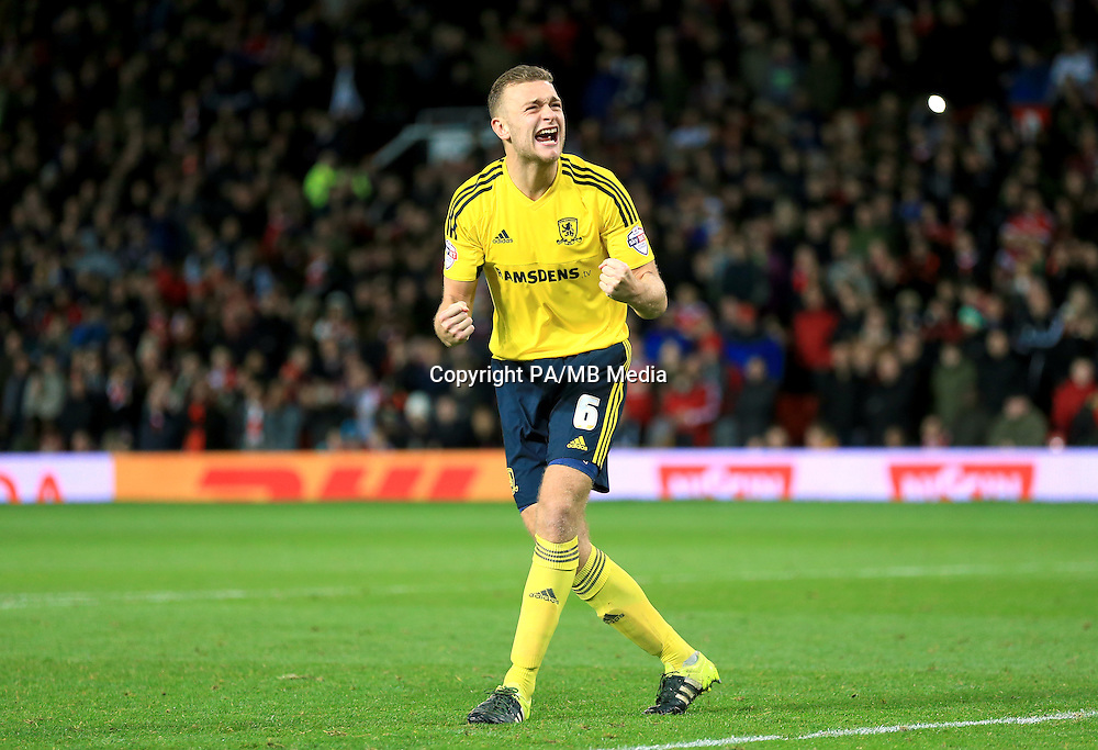 Middlesbrough's Ben Gibson celebrates after scoring his penalty during the Capital One Cup, Fourth Round match at Old Trafford, Manchester.