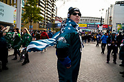 Philadelphia Eagles fan stand in front of Wembley in an Philadelphia Eagles flag during the International Series match between Jacksonville Jaguars and Philadelphia Eagles at Wembley Stadium, London, England on 28 October 2018.