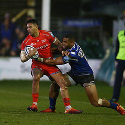 Joe Cokanasiga of Bath Rugby tackling Denny Solomona of Sale Sharks during the Gallagher Premiership match between Bath Rugby and Sale Sharks at the The Recreation Ground Bath England.2nd December 2018,(Photo by Steve Haag Sports)