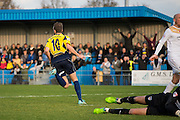 Justin Bennett celebrates during the The FA Cup match between Gosport Borough and Colchester United at Privett Park, Gosport, United Kingdom on 9 November 2014.