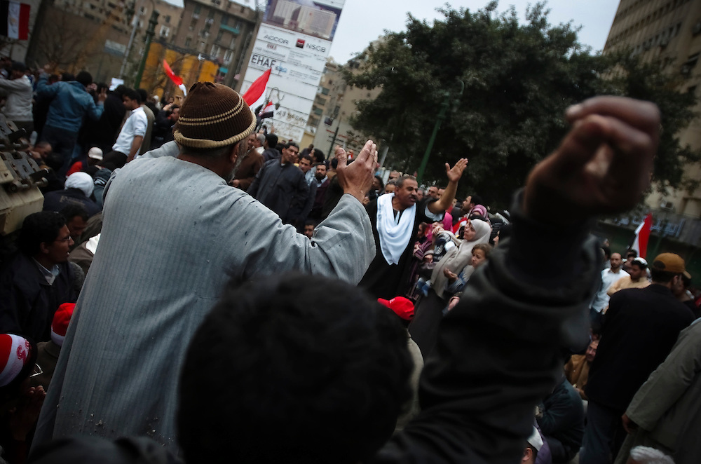 Sunday, February 6, 2011. Day 13 of the protests in Cairo, Egypt. Egypt erupted in mass protests on Jan. 25, 2011 with protesters demanding President Mubarak step down from power, chanting that they will not leave Tahrir Square until Mubarak leaves office. Mr. Mubarak has said he will not run for reelection but has refused to step down from power, and has sent his armed supporters to violently attack the crowds of protesters. Human rights organizations report that at least 150 people have been killed since the protests began.