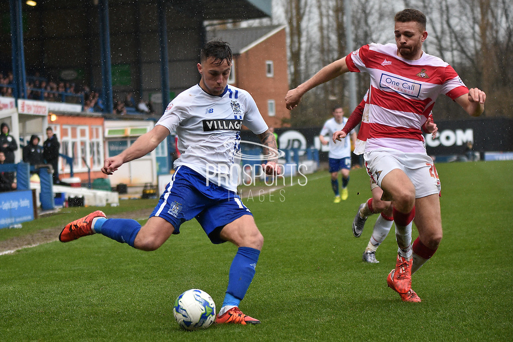 Bury On loan Midfielder,  John O'Sullivan  during the Sky Bet League 1 match between Bury and Doncaster Rovers at the JD Stadium, Bury, England on 9 April 2016. Photo by Mark Pollitt.