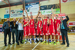 Team KK Tajfun Sentjur after winning supercup basketball match between KK Krka Novo mesto and KK Tajfun Sentjur at Superpokal 2015, on September 26, 2015 in SKofja Loka, Poden Sports hall, Slovenia. Photo by Grega Valancic / Sportida.com