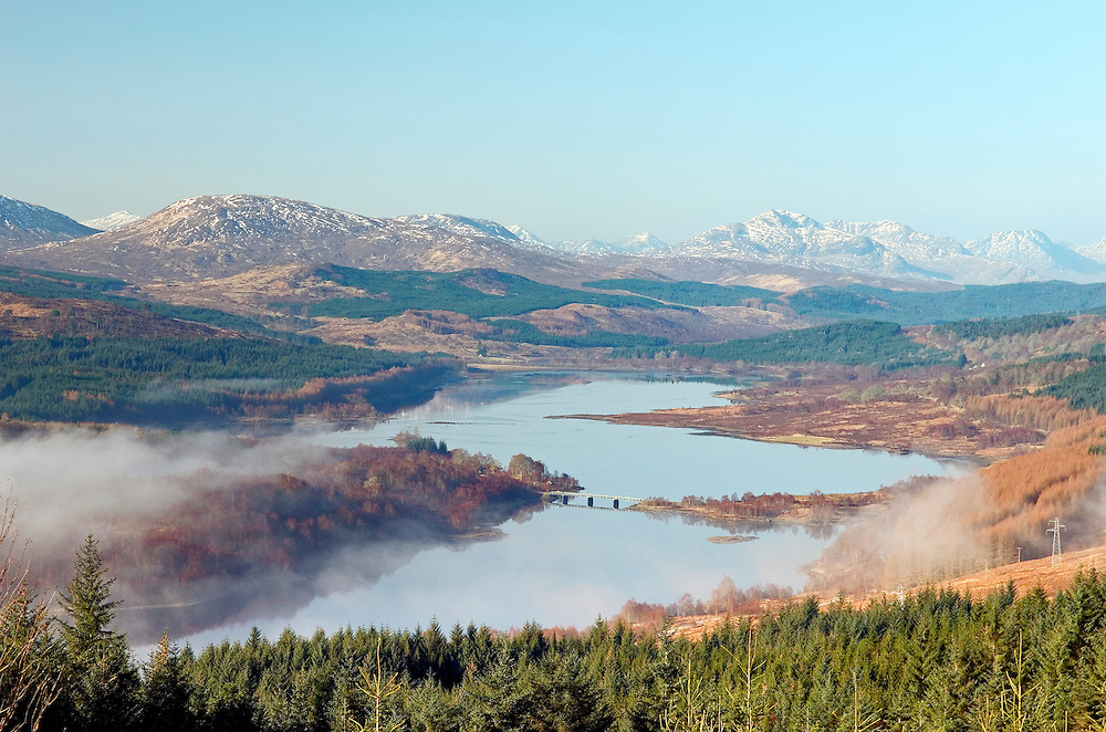 SW over Loch Garry and Glengarry near Invergarry, Spean Bridge and Fort William. Highland Region of Scotland. Winter
